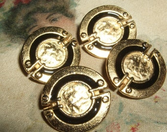 Set of Four Gold Buttons