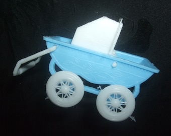 Vintage Miniature Baby Buggy with Doll