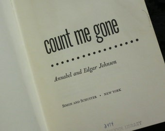 1968 Count Me Gone Book
