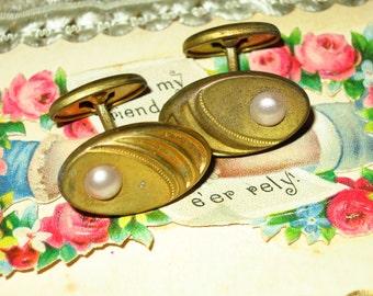 Vintage Brass Nouveau Cuff Links
