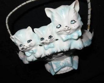 Japan Porcelain Kittens basket