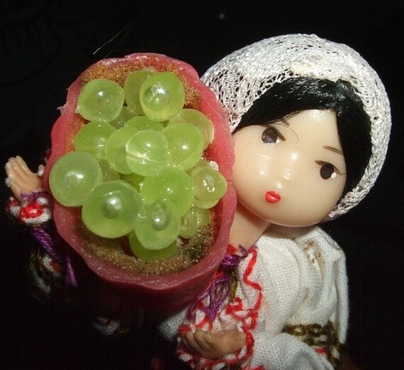 GIRL WITH THE GRAPES VINTAGE USSR DOLL
