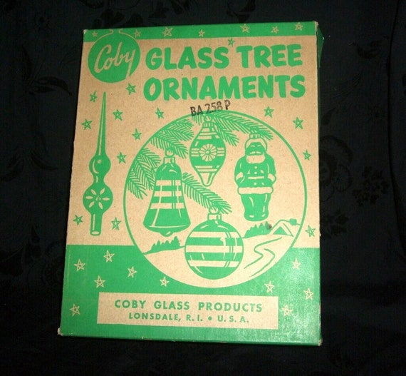 Coby Glass Christmas Tree Ornaments : Vintage coby glass ornament box