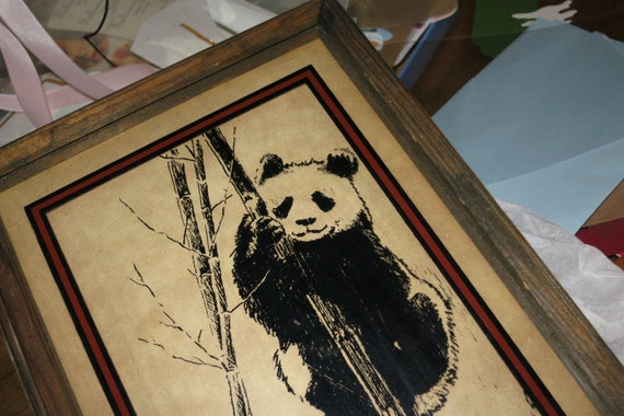 Vintage Panda Bear Reverse Glass Wall Hanging