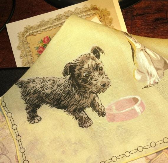 RESERVED Sally - Vintage Scottie Dog Handkerchief