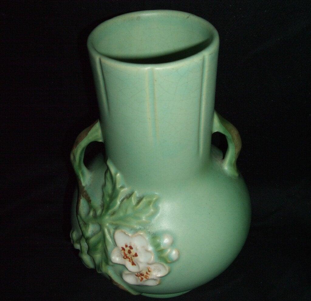 Signed Weller Pottery VELVA Pattern Vase in Matt Green