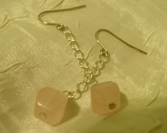 Picassos Valentine. Sterling Silver and Rose Quartz earrings