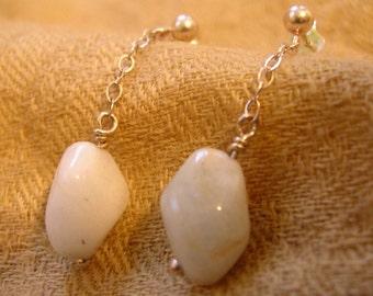 Aquamarine Pebble Drop Earrings