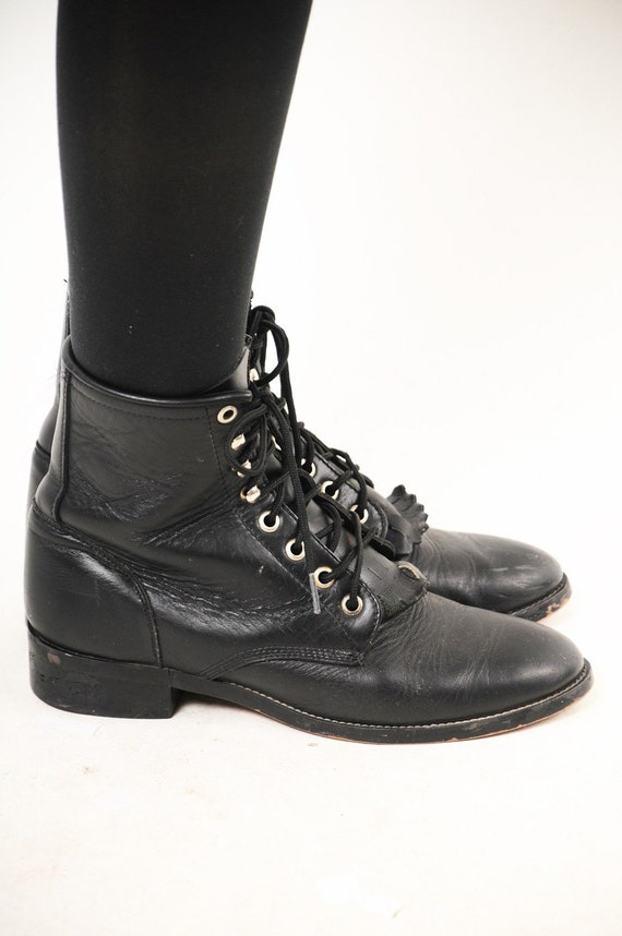 vintage black leather combat boots size 6