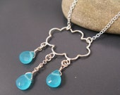 Winter jewelry, rain cloud necklace in sterling silver and aqua stones