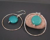 Turquoise jewelry, turquoise earrings, sterling silver hoops, Turquoise jewelry