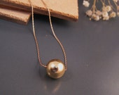 Gold ball pendant, gold necklace, simple everyday necklace, 14k gold filled