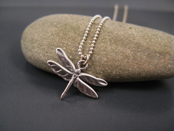 Silver dragonfly necklace, Delicate Silver Necklace, Dragonfly Charm Necklace, Nature inspired dragonfly jewelry