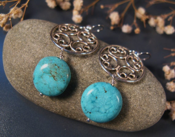 Turquoise jewelry, Turquoise dangling earrings, sterling silver Turquoise earrings, filgree earrings, december birthstone
