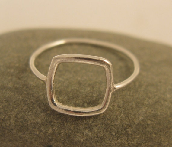 Geometric ring, Sterling silver square ring, Simple silver ring, handmade geometric jewelry,