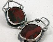 Red Jasper earrings, Sterling silver metalwork, oxidized: Smolder