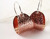 Flower hoop earrings  Copper  Sterling silver  floral Spring fashion under 30