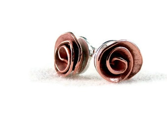 Rose earrings, stud,  Copper, Sterling silver, Nature inspired jewelry