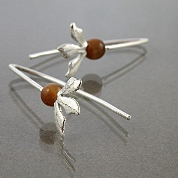Flower earrings| Sterling Silver| Tiger Eye| golden brown gemstone| Petite Fleur