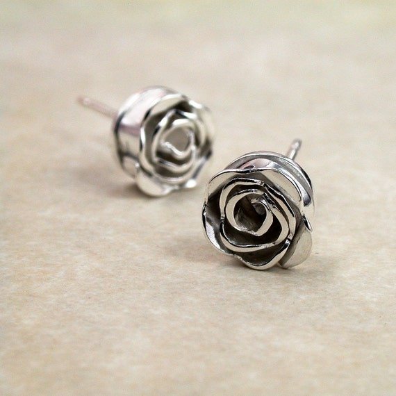 Sterling stud earrings,  hand formed  Roses: Itty Bitty Buds