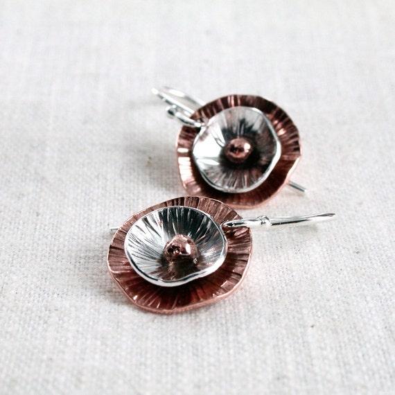 Copper, Sterling, earrings, hammered: Poppy