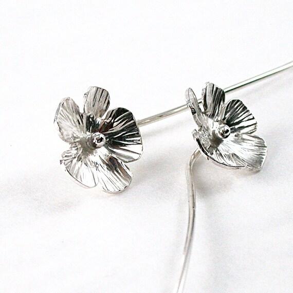 Sterling earrings, hammered flower, hand formed long stem