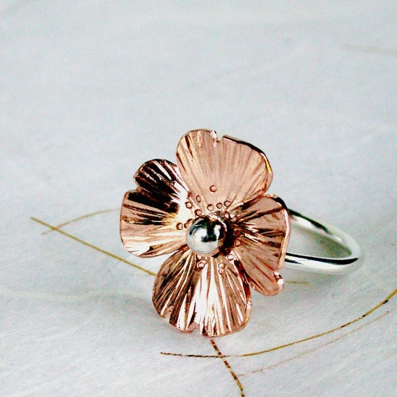 Ring Copper Poppy hammered Sterling silver band floral Spring fashion