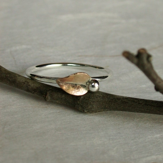 Sprout Ring Sterling silver Gold Leaf Nature inspired jewelry