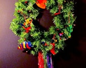 holiday wreath Mexican Tin ornaments