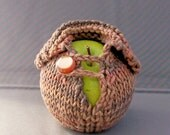 Apple Jacket Sweater - Handknit - Terra Firma Brown Earth Toned Cotton with Toffee Button