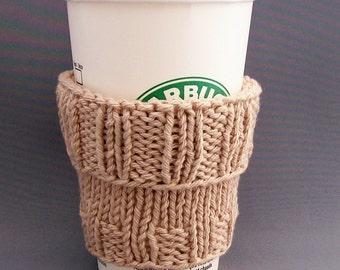 Coffee Cup Cozy Sleeve Handknit Camel Beige Mug Koosie Eco Friendly Fits a Short or Grande Size Coffee