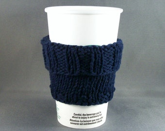 2 in 1 Coffee Cup Sleeve for your Coffee to Go - Handknit Cotton Fabric - Navy Blue Office Teacher Gift under 15