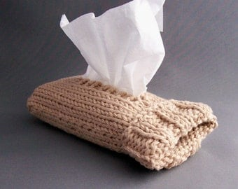Travel Tissue Cozy  Camel Pocket Tissues Handknit Sweet Office Gift under 20