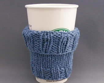 2 in 1 Coffee Cup Cozy Hand Knit Demin Blue fit a Short or Grande sized Coffee to go - Denim is featured in Etsy Finds