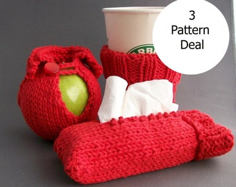 DIY Apple Cozy Jacket, Coffee Cup Sleeve and Travel Tissue Sock - 3 PATTERN Deal Knit Little Gifts INSTANT Download