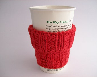 "Coffee Cup Sleeve Cozy Handknit Red with Muslin Drawstring Carry Bag fits a ""Short"" or ""Grande"" Coffee Java Cosy Eco-Friendly"