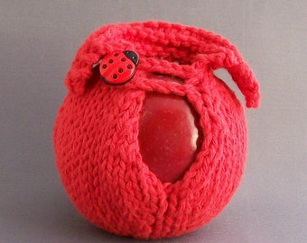 Cozy Red Apple Cover Jacket Get Lucky Ladybug Button Handknit Red Gift under 20