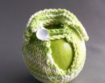 Apple Cozy Jacket Cotton Handknit Fresh Summer Greens with White Button Crocheted Loop