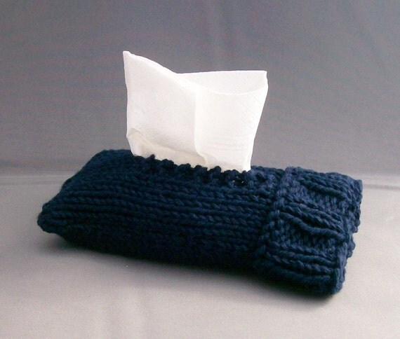 Pocket Kleenex Cover - Handknit - Navy Blue Cotton - Top or Bottom Pull Great Gift under 15
