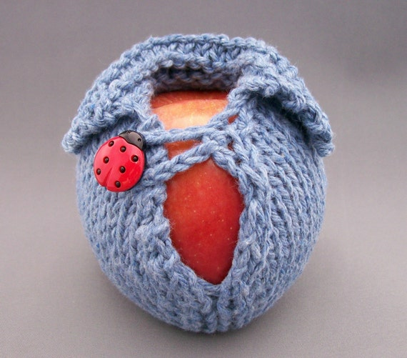 Lucky Ladybug Denim Apple Cozy, Apple Jacket, Knit Apple Wrap, Back to School, Stocking Stuffer, Teacher Gift, Gift Wrap Apple Button