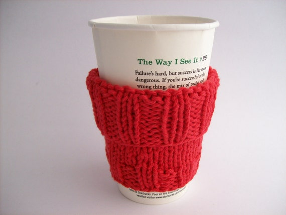 """Coffee Cup Sleeve Cozy Handknit Red with Muslin Drawstring Carry Bag fits a """"Short"""" or """"Grande"""" Coffee Java Cosy Eco-Friendly"""