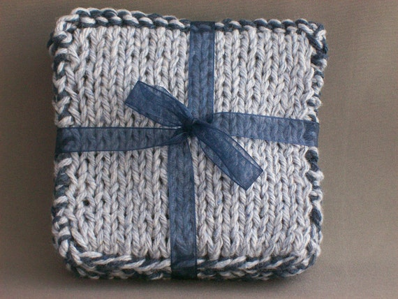 Drink Coasters Denim Blues Cotton Handknit Set of 4 Natural Click to see reverse side color Hostess Gift under 25