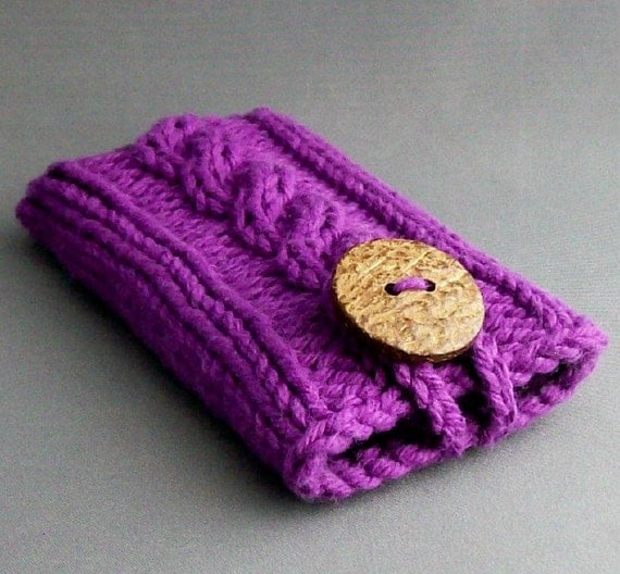 iPhone 6 Case iPhone 4, 5 or 6 Samsung Galaxy s3, s4  s5 or Samsung Galaxy Note 2, 3, or 4 Case  Amethyst Coconut Button Crochet Loop