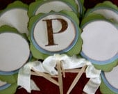 Monogram cupcake toppers - Baby Boy Shower
