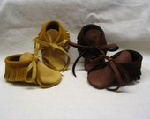 Leather Baby Moccasins in Softest Deerskin Leather in Brown,Black,Red,Pink,Turquoise,Cream and more colors!!!Handmade by Debbie Leather