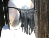 Fringed Leather Loincloth Swim Pouch in Black Deerskin Tarzan LARP Fantasy Fetish Handmade by Debbie Leather