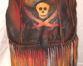 "Leather Steampunk Bag Renaissance Purse Jolly Roger Pirate Bag Skull and Swords ""JACK SPARROW"" Custom Handmade by Debbie Leather"