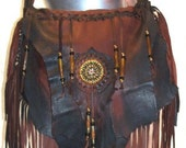 "Ready to Ship!! Leather Marsala Brown Handbag Deerskin Renaissance Beaded Fringe Purse Hobo Bag ""MEMI'S FAVORITE"" Handmade by Debbie Leather"