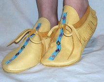 Artisan Made Leather Moccasins with Bead Work Custom Beaded Traditional Leather Indian Style Shoes Handmade by Debbie Leather