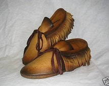 Leather Moccasins with Fringe in Distressed Gold Deerskin Hippie Retro Style Indian Shoes Custom Handmade by Debbie Leather